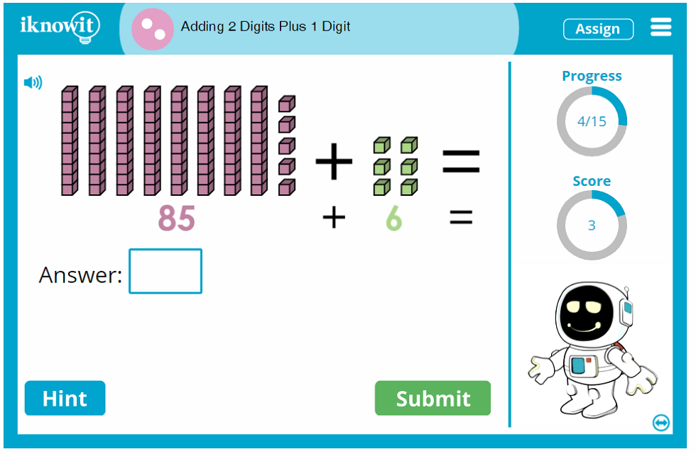 Second Grade Add Two Digit and One Digit Numbers Game
