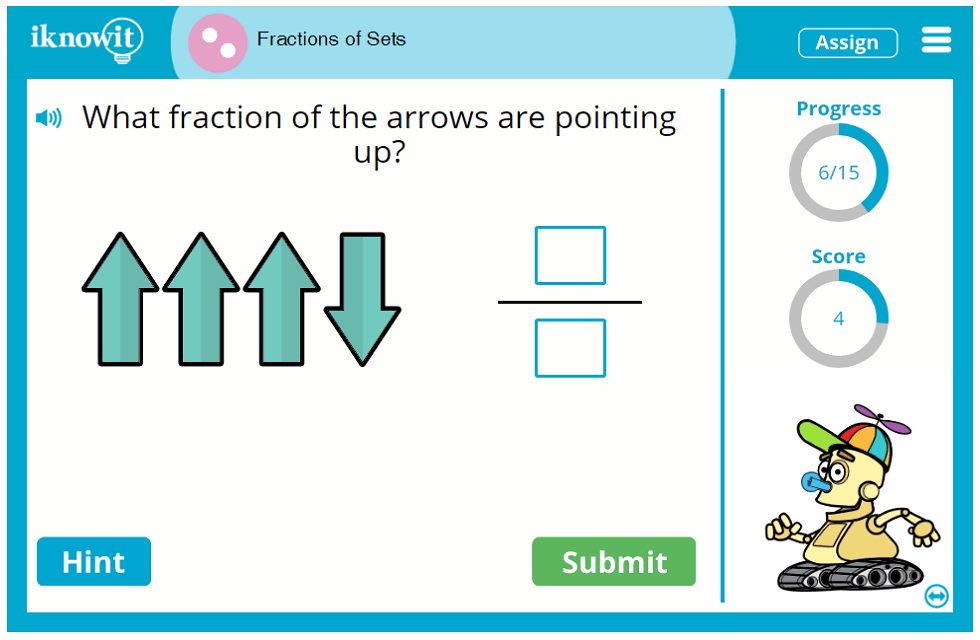 Second Grade Object Sets Fraction Game