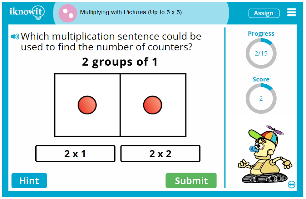 Second Grade Image Assisted Multiplication up to 5 times 5 Game
