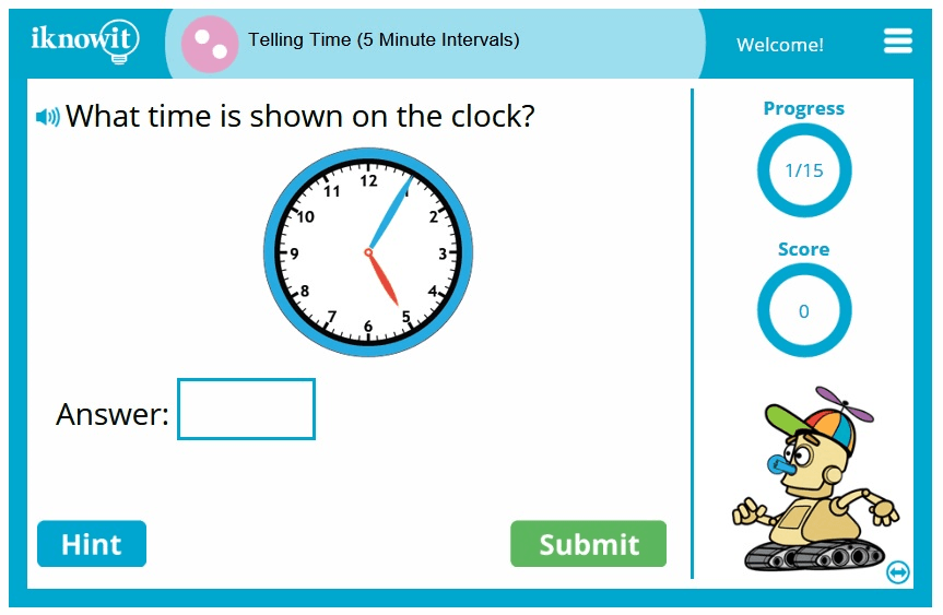 2nd Grade Telling Time Nearest 5 Minutes Game