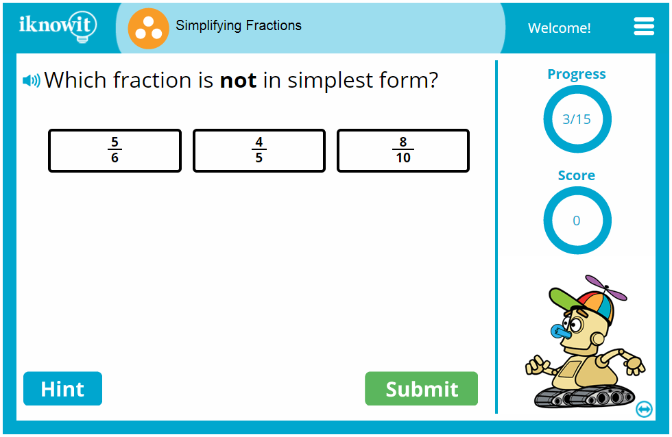 Third Grade Reducing Fractions Game