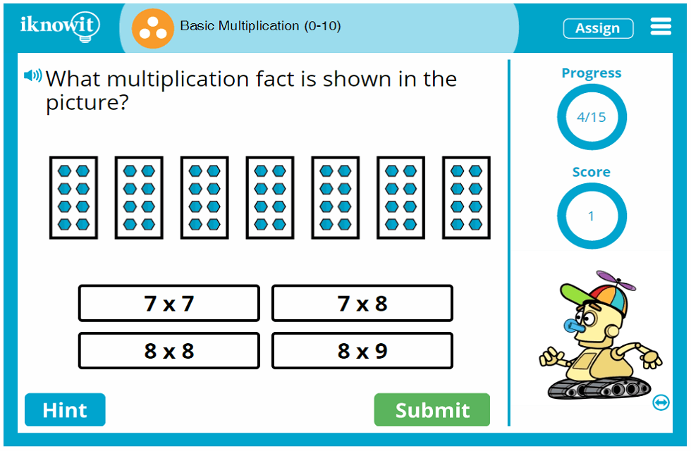 Third Grade Basic Multiplying up to Ten Game