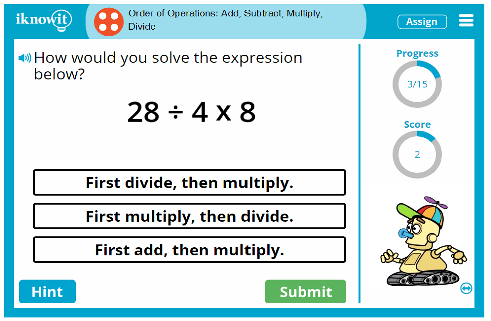 Fourth Grade Adding Subtracting Multiplying Dividing Order of Operations Game