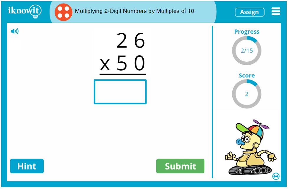 4th Grade Multiplying 2 Digit Numbers by Multiples of 10 Game