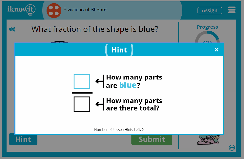 4th Grade Fractions of Shapes Lesson
