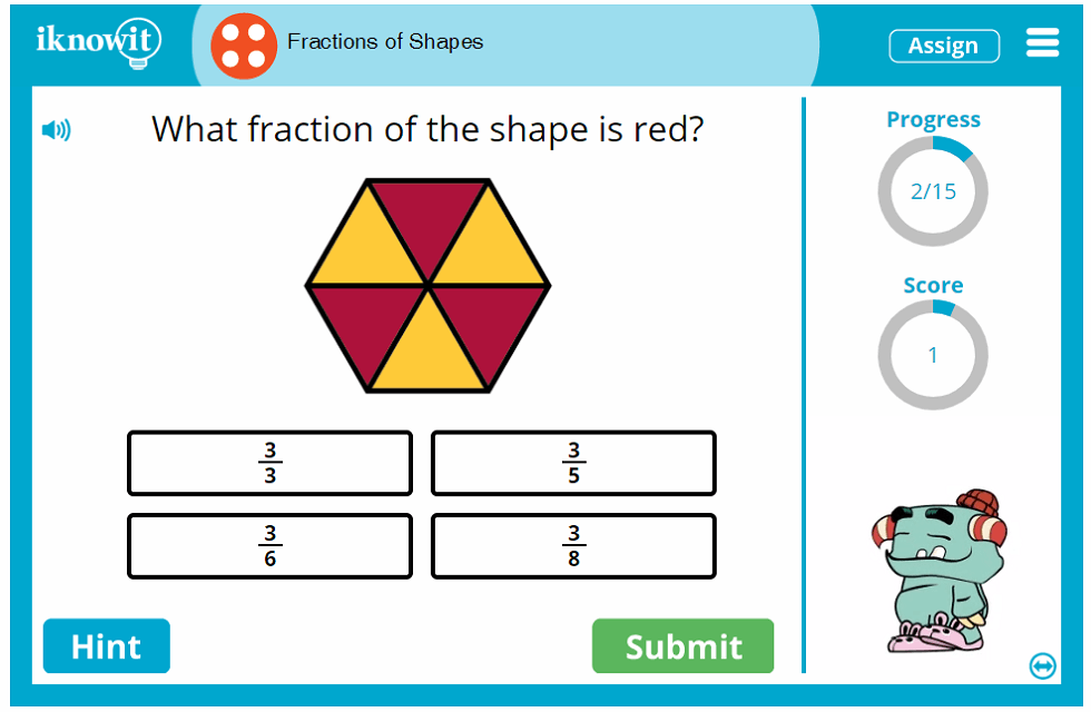 Fourth Grade Shape Parts as Fractions Game