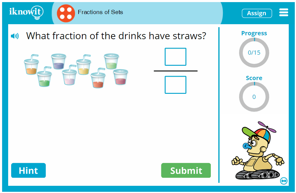 Fourth Grade Learn Item Set Fractions Game