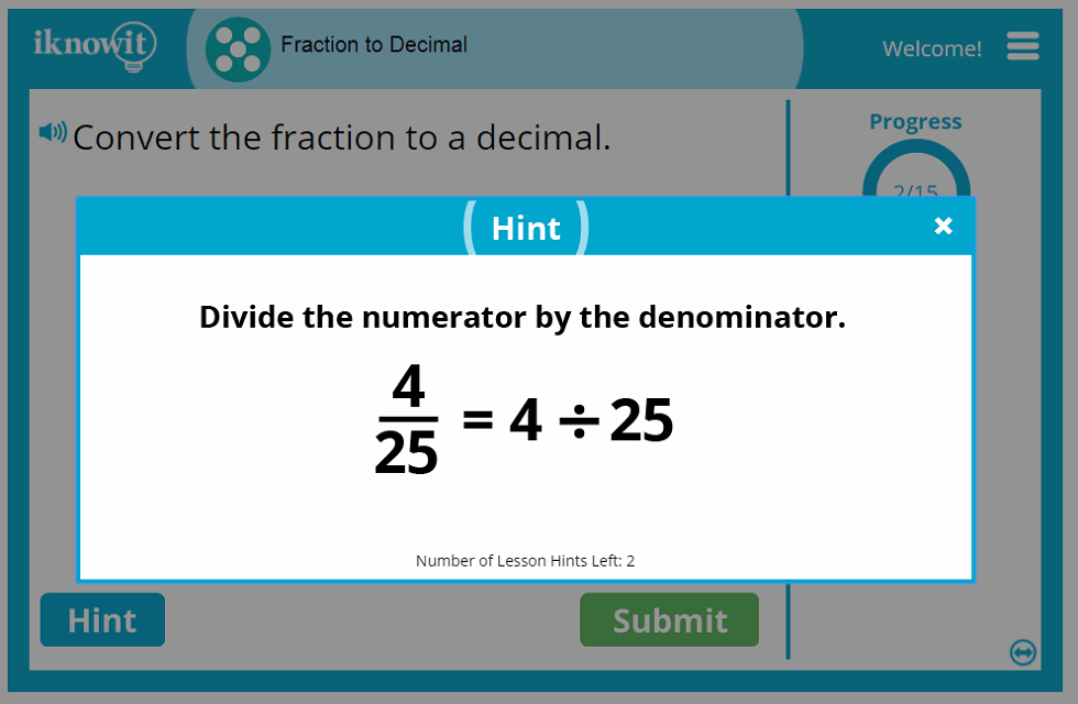 Fifth Grade Changing Fractions to Decimals Game