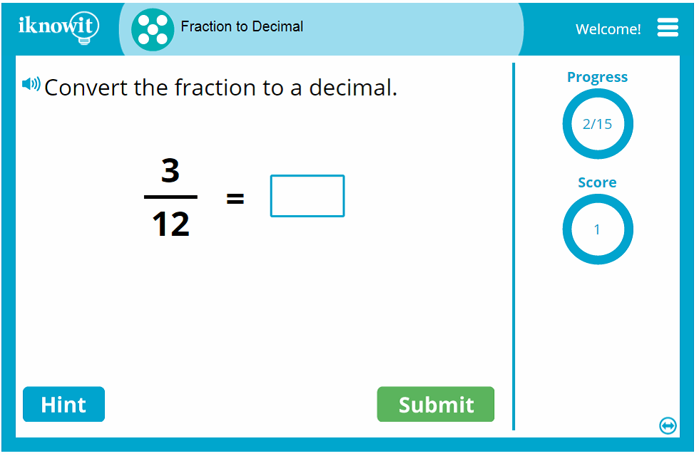 5th Grade Converting Fractions to Decimals Game