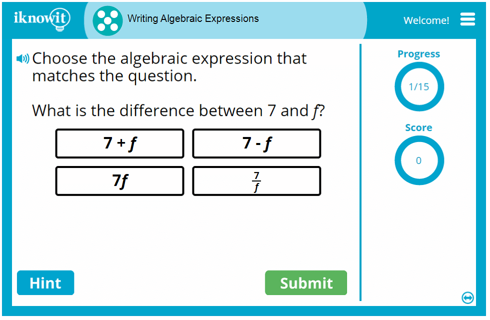 Writing Algebraic Expressions Game