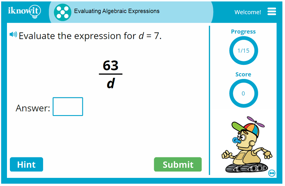 Evaluating Algebraic Expressions Game