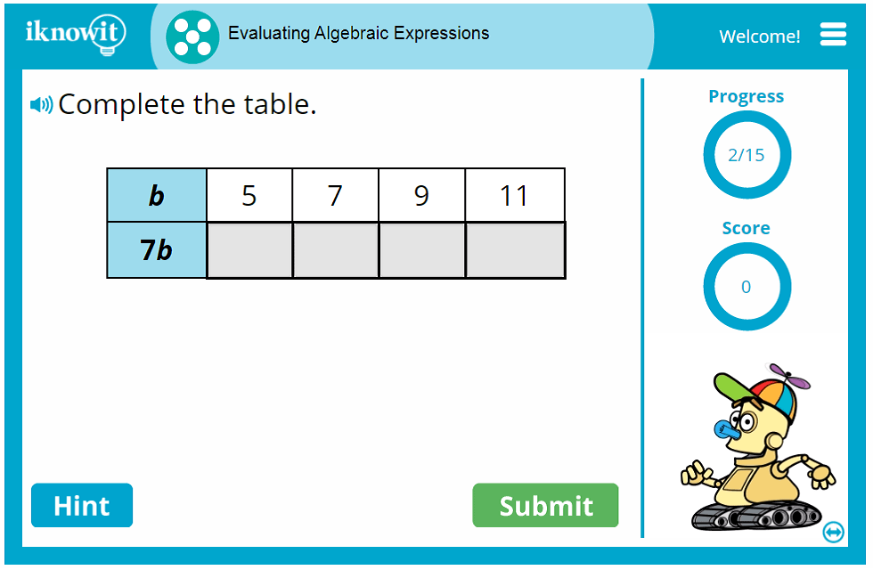 Fifth Grade Solving Algebraic Expressions Game
