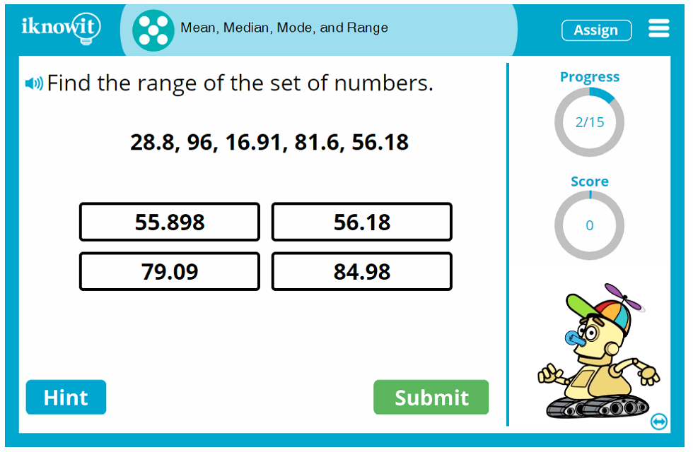 Fifth Grade Calculate Mean Median Mode Range Game