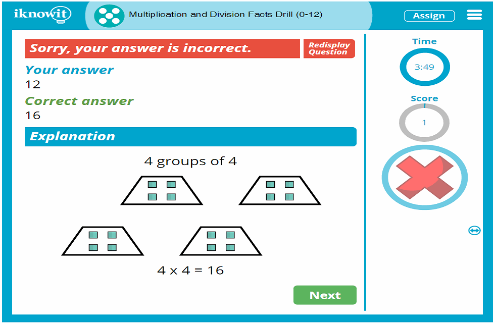 5th Grade Multiplication and Division Facts Drill to 12 Activity