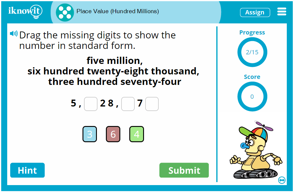 Fifth Grade Hundred Millions Place Value Activity