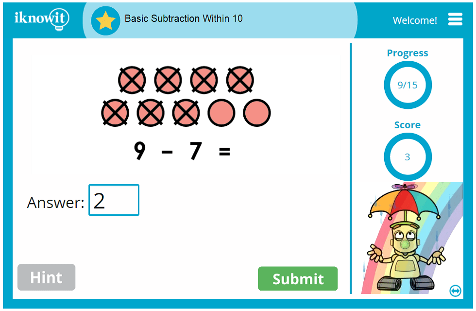 Kindergarten Basic Subtraction Within 10 Activity