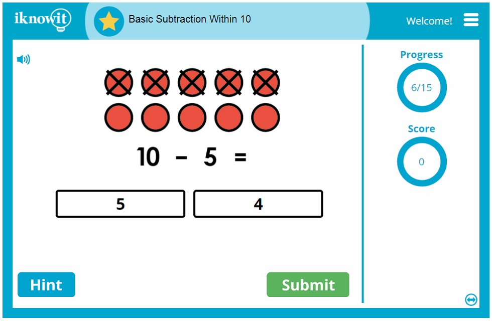 Kindergarten Basic Subtraction Within 10 Game